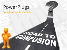 PowerPlugs: PowerPoint template with yellow 3D man on road leading to confusion with questions in background