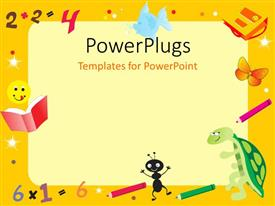 PowerPlugs: PowerPoint template with yellow abstract frame for kid with books and color pens