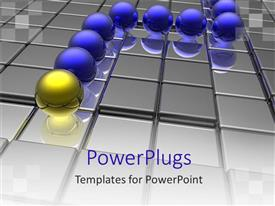 PowerPlugs: PowerPoint template with yellow ball leading blue balls on grid shiny surface