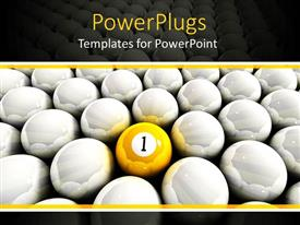 PowerPlugs: PowerPoint template with a yellow ball with lots of white shinny balls around it