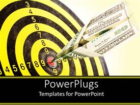 PowerPoint template displaying yellow and black dartboard target with dollar bill arrow in the middle of dartboard