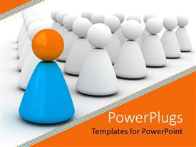 PowerPoint template displaying yellow and blue cone and sphere figure leading group of white figures