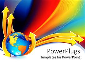 PowerPlugs: PowerPoint template with yellow and blue globe with yellow arrows on  colorful background