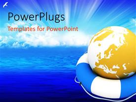 PowerPlugs: PowerPoint template with a yellow colored arth globe on a blue and white buoy