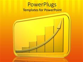 PowerPlugs: PowerPoint template with yellow colored bar chart with an ascending on a yellow background