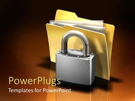 PowerPoint template displaying yellow colored file behind a metal silver colored padlock