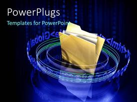 PowerPlugs: PowerPoint template with a yellow colored file with some papers in it