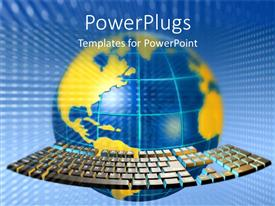 PowerPlugs: PowerPoint template with yellow colored map on blue globe with virtual keyboard keys round globe