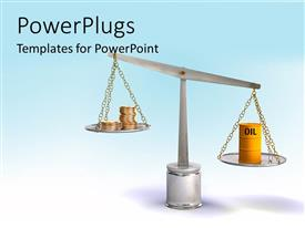 PowerPoint template displaying yellow colored oil barrel weighed against gold coins on weighing balance