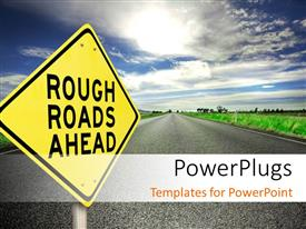 PowerPlugs: PowerPoint template with a yellow colored sign post with text that spell out the words 'rough roads ahead'