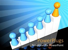 PowerPlugs: PowerPoint template with yellow cone leading other blue cones on a bar chart