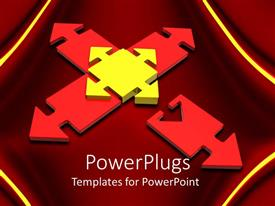 PowerPoint template displaying a yellow cube arrow with four red ones around it