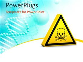 PowerPoint template displaying yellow danger sign with blue color
