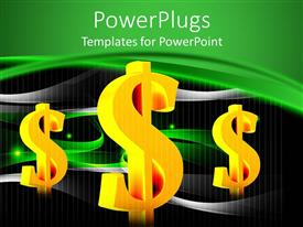 PowerPoint template displaying yellow dollar bill signs in black and green background