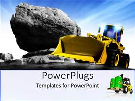 PowerPoint template displaying yellow earth mover construction vehicle next to large rock