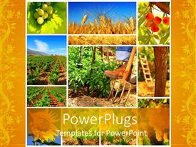 PowerPoint template displaying yellow farming collage with different plants and farmer;s boot on fork