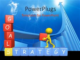 PowerPlugs: PowerPoint template with yellow figure assembling alphabet blocks into Goals and Strategy