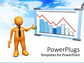 PowerPlugs: PowerPoint template with yellow figure in black neck tie gesturing to display with bar chart and red line