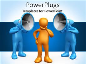 PowerPlugs: PowerPoint template with yellow figure contemplating two blue figures with loudspeakers