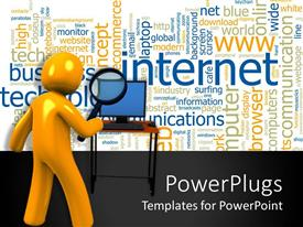 PowerPlugs: PowerPoint template with yellow figure holding magnifying lens looking at computer desktop