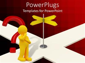 PowerPlugs: PowerPoint template with yellow figure next to red question and yellow road signs at junction