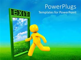 PowerPlugs: PowerPoint template with yellow figure runs across green grass toward exit door showing blue sky and white clouds