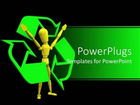 PowerPlugs: PowerPoint template with yellow figure surrounded by green recycling symbol on black background
