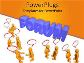 PowerPoint template displaying yellow figures with speech bubbles and blue forum