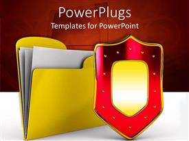 PowerPlugs: PowerPoint template with yellow file folder holding paper behind red and gold shield