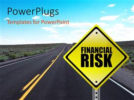 PowerPoint template displaying yellow Financial Risk street signpost concept with road and sky