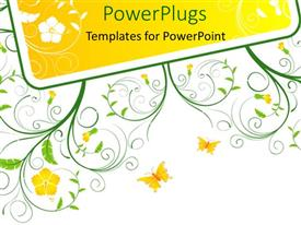 PowerPoint template displaying yellow flowers and butterflies with decorative green stems and leaves on white background