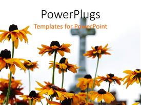 PowerPlugs: PowerPoint template with yellow flowers in front of stone cross