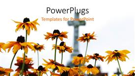 PowerPoint template displaying yellow flowers in front of stone cross