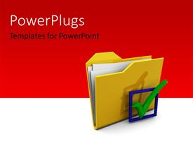 PowerPlugs: PowerPoint template with a yellow folder with a big green check sign