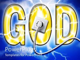 PowerPoint template displaying yellow GOD sign with white socket plug in blue background