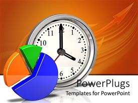 PowerPlugs: PowerPoint template with yellow, green and blue pie chart, silver metallic clock showing four o'clock on reflective white surface and orange background with arrow