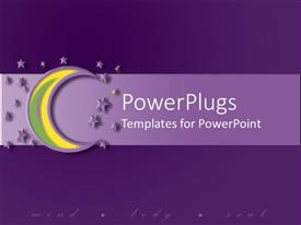 PowerPlugs: PowerPoint template with yellow and green colored moon on a purple background