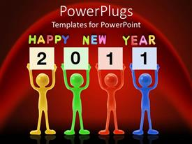 PowerPlugs: PowerPoint template with yellow, green, red, blue figures holding 2011 signs below Happy New Year