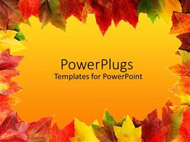 PowerPlugs: PowerPoint template with yellow, green, red, rusty, orange, colorful autumn leaves framing gradient yellow background