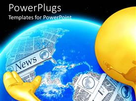 PowerPlugs: PowerPoint template with yellow hand and head with glowing globe and world map made of newspapers