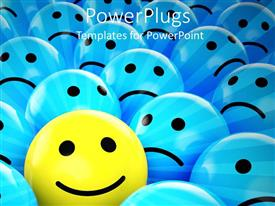 PowerPoint template displaying yellow happy smiley face between blue sad faces, smiling face surrounded by sunrays between sad faces, symbol of happiness amongst symbols of sadness, optimism versus negativism, positive vs negative