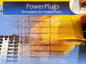 PowerPlugs: PowerPoint template with yellow hard hat in front of large building with hand drawing with ruler in corner