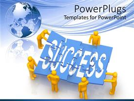 PowerPlugs: PowerPoint template with yellow human figures holding pieces of puzzles together forming the text Success