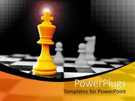 PowerPlugs: PowerPoint template with yellow king chess piece stand with white pawns and knight