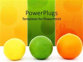 PowerPoint template displaying yellow lemon, green lime and orange on white table with yellow, green and orange background