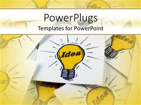PowerPoint template displaying yellow light-bulbs as a metaphor for ideas and creativity