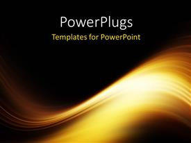 PowerPoint template displaying yellow luminous waves flowing with black color