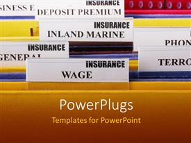 PowerPlugs: PowerPoint template with yellow management folder with several sectioned documents inside