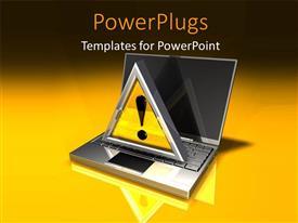 PowerPlugs: PowerPoint template with yellow metallic caution icon on metallic laptop over yellow background