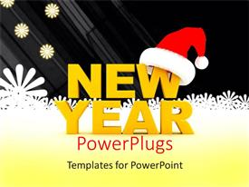PowerPlugs: PowerPoint template with yellow new year text with Santa cap and snow flakes in background